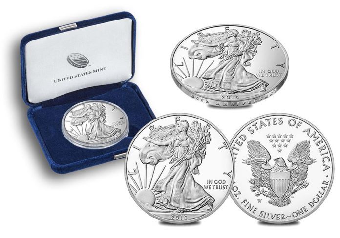 2016-W Proof American Silver Eage coins, case and coin edge