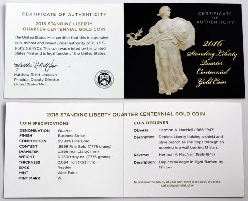 2016-W Standing Liberty Centennial Gold Coin - Certificate of Authenticity