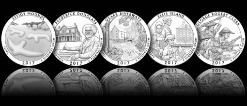 2017 America the Beautiful Quarter and 5 oz Coin Designs