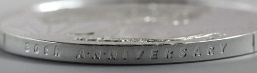 Photo of a 2016-W 30th Anniversary Proof American Silver Eagle's incused edge