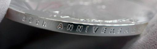 Photo of a 2016-W 30th Anniversary Proof American Silver Eagle's incused edge