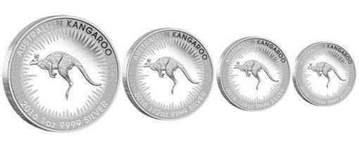 Four Coins of the Australian Kangaroo 2016 Silver Proof Four-Coin Set