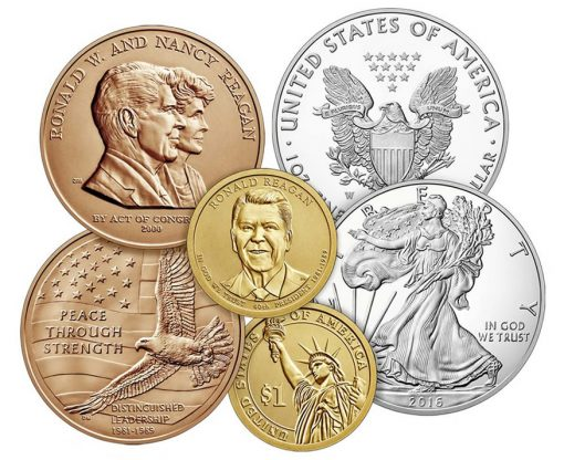 Medal and Coins from the 2016 Ronald Reagan Coin & Chronicles Set