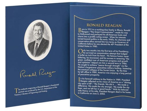 Opened folder of 2016 Ronald Reagan Coin & Chronicles Set