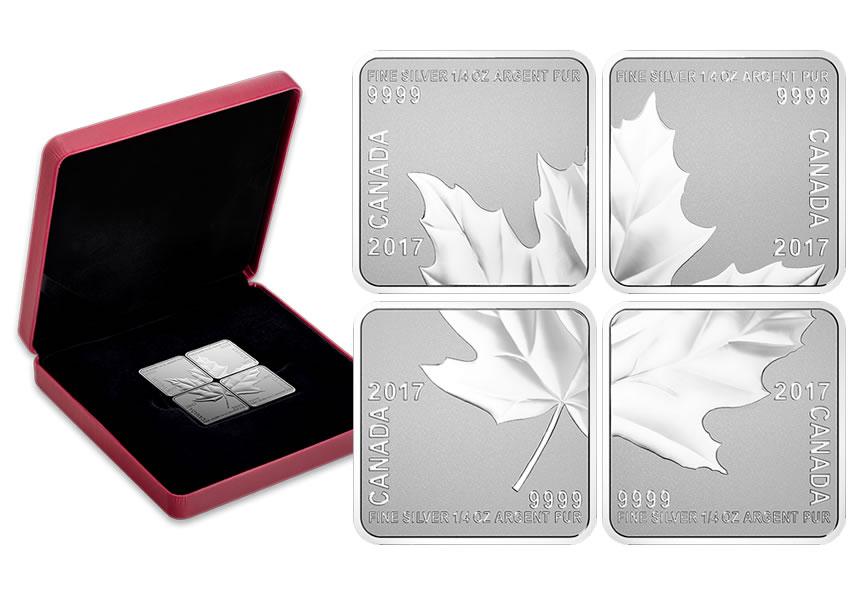Quartet Of Canadian 2017 3 Silver Coins Form Maple Leaf