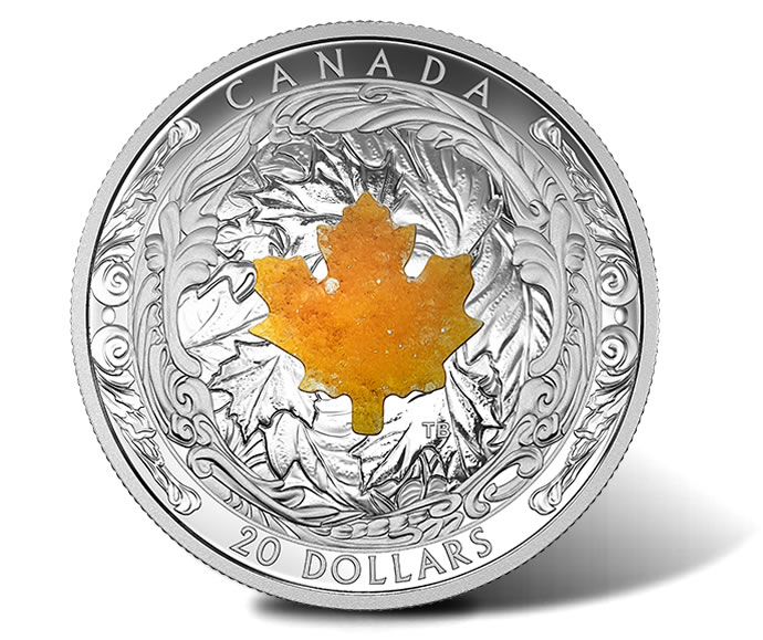 2016 $20 Majestic Maple Leaves with Drusy Stone 1 oz. Silver Coin - Reverse