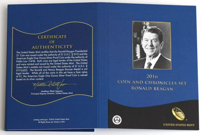 2016 Ronald Reagan Coin and Chronicles Set Certificate