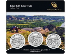 Theodore Roosevelt Quarter for North Dakota in Three-Coin Set