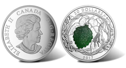 2017 $20 Brilliant Birch Leaves with Drusy Stone 1 oz. Silver Coin - Obverse and Reverse