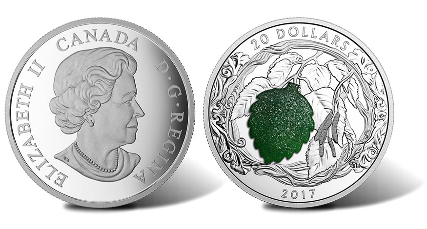 Canadian 2017 20 Coin Depicts Birch Leaves With Drusy
