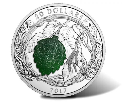 2017 $20 Brilliant Birch Leaves with Drusy Stone 1 oz. Silver Coin - Reverse