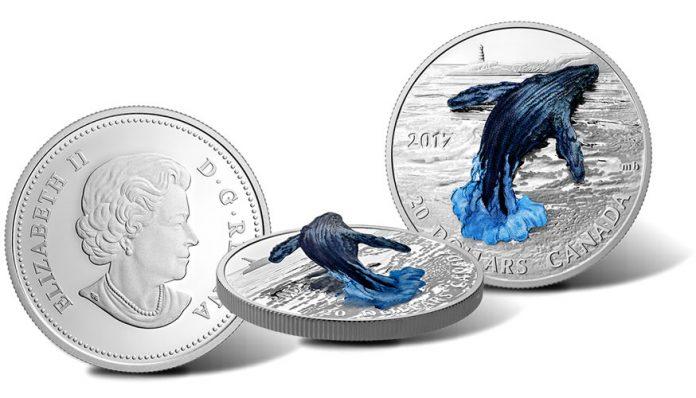 2017 $20 Three-Dimensional Breaching Whale 1 oz. Silver Coin