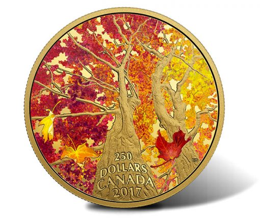 2017 $250 Maple of Canopy Kaleidoscope of Color 2 oz Gold Coin - Obverse