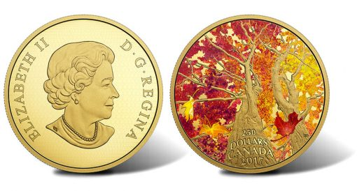 2017 $250 Maple Canopy Kaleidoscope of Color 2 oz Gold Coin - Obverse and Reverse