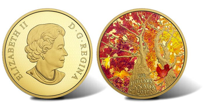 2017 $250 Maple of Canopy Kaleidoscope of Color 2 oz Gold Coin - Obverse and Reverse
