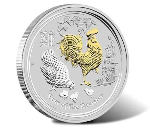 2017 Year of the Rooster Gilded 1oz Silver Proof Coin