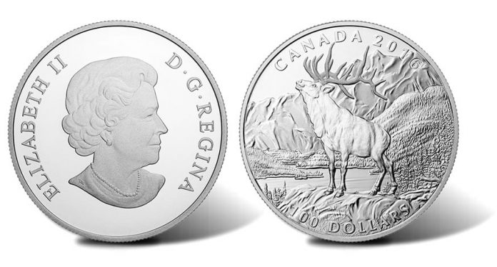 Canadian 2016 $100 Elk Silver Coin - Obverse and Reverse