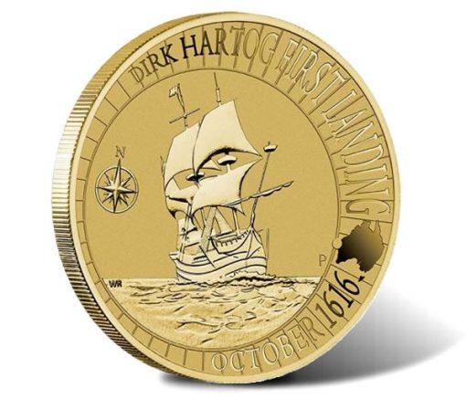 1616-2016 1$ Dirk Hartog Australian Landing Coin - Reverse