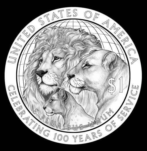 2017 Lions Clubs International Century of Service Silver Dollar, Reverse Design