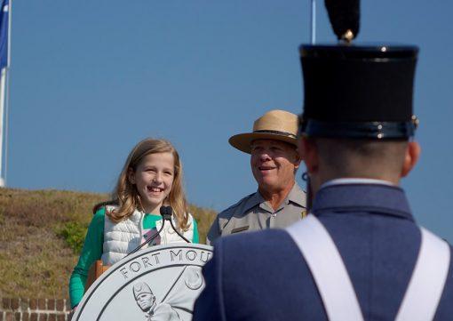 Piper Hamrick leads the Pledge of Allegiance
