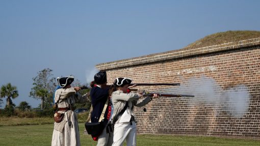 Live black powder musket fire