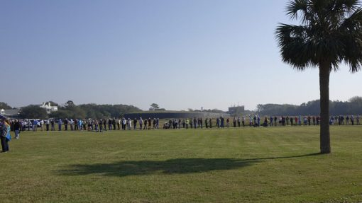 Coin exchange at Fort Moultrie quarter launch ceremony