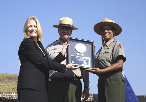 Jean Gentry, Chief Counsel, United States Mint, presents Fort Moultrie quarters