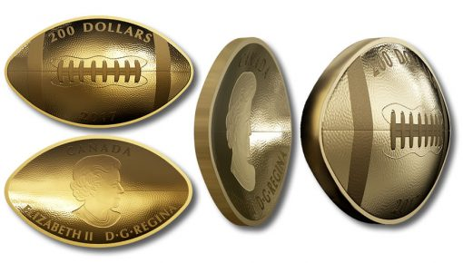 Canadian 2017 $200 Gold Football Coin - reverse, obverse, and side views