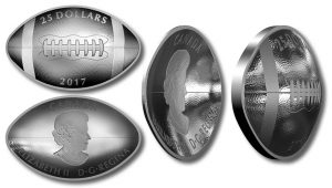 Canadian 2017 Coins Shaped Like Football