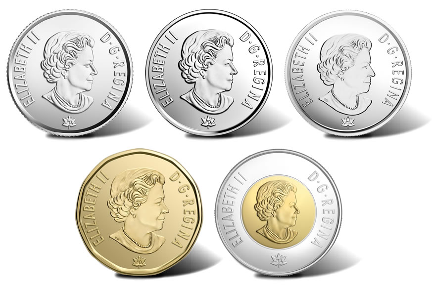 Canadian 2017 Circulation Coins Obverses