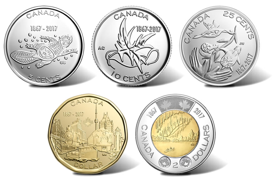 Canadian 2017 Circulation Coins Reverses