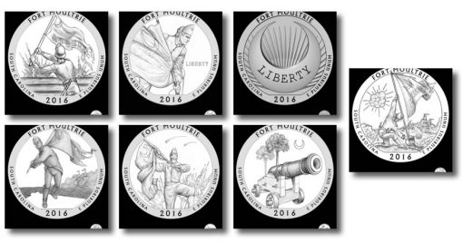 Design candidates for the Fort Moultrie quarter