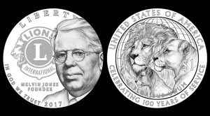 Designs for the 2017 Lions Clubs International Century of Service Silver Dollar