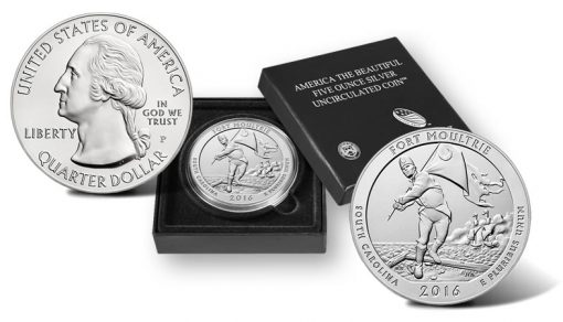 2016-P Fort Moultrie Park Five Ounce Silver Uncirculated Coin and Presentation Case