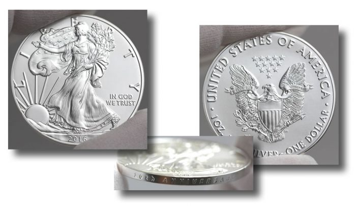 2016-W 30th Anniversary Uncirculated American Silver Eagle - Sides and Edge