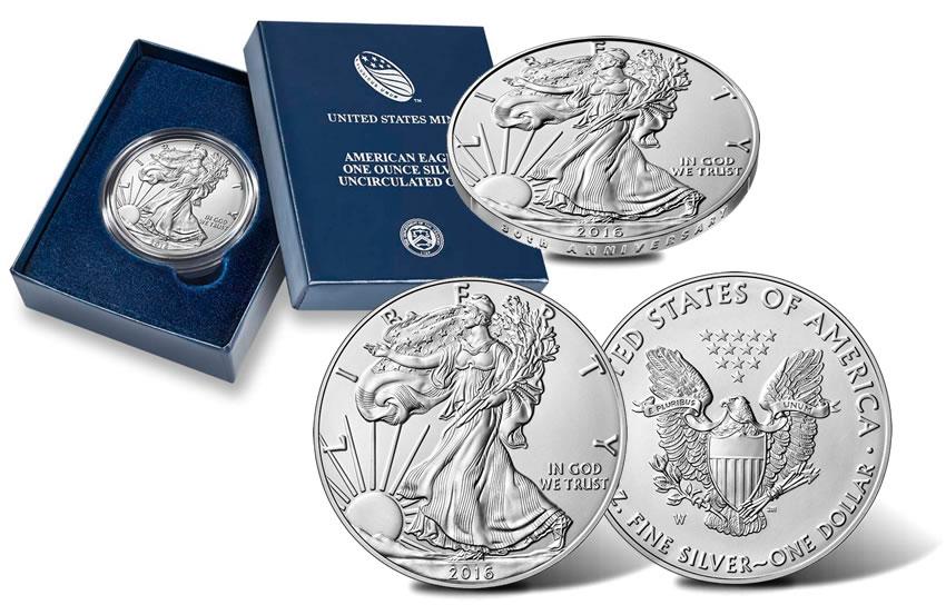 2016-W American Silver Eagle 30th Anniversary 1 oz .999 Lettered Edge Proof Coin