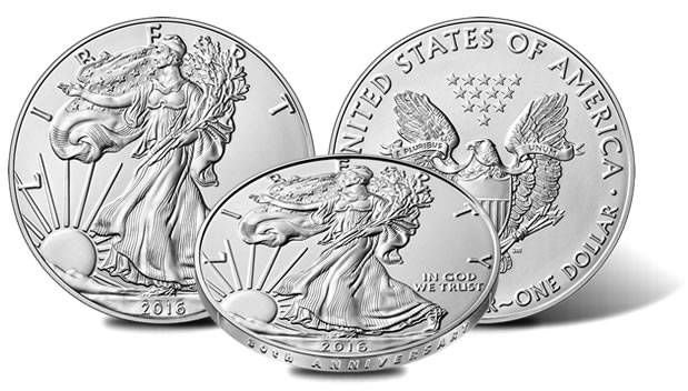 30th Anniversary edge of 2016-W Uncirculated American Silver Eagle