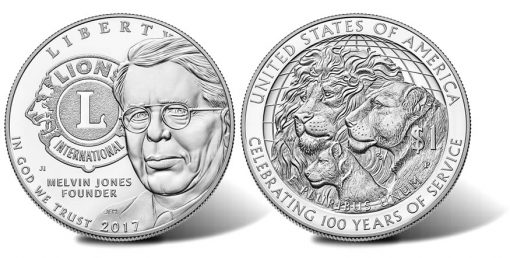 2017-P Proof Lions Clubs International Centennial Silver Dollar, Obverse and Reverse