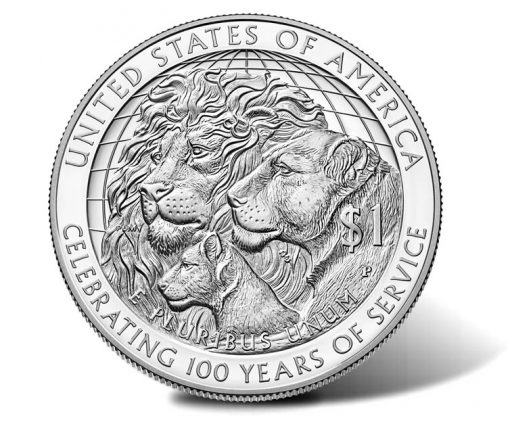 2017-P Proof Lions Clubs International Centennial Silver Dollar, Reverse