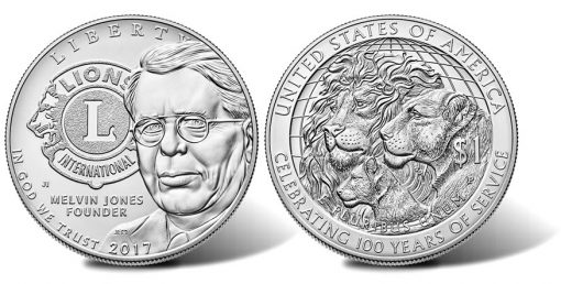 2017-P Uncirculated Lions Clubs International Centennial Silver Dollar, Obverse and Reverse