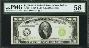 1934 $5,000 Note May Realize $140,000 at 2017 FUN Auction