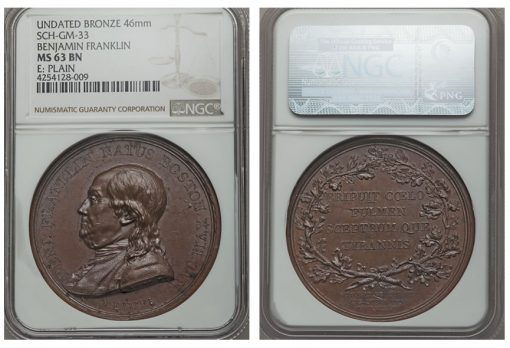 Benjamin Franklin Natus Boston MS63 Brown NGC