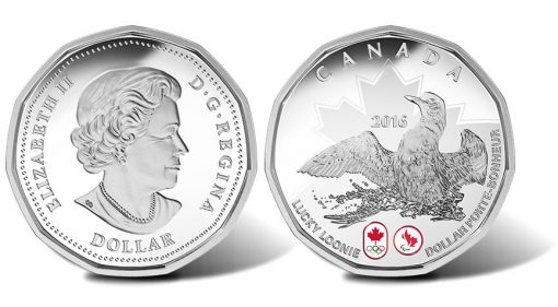 Canadian 2016 Lucky Loonie Silver Coin, Obverse and Reverse