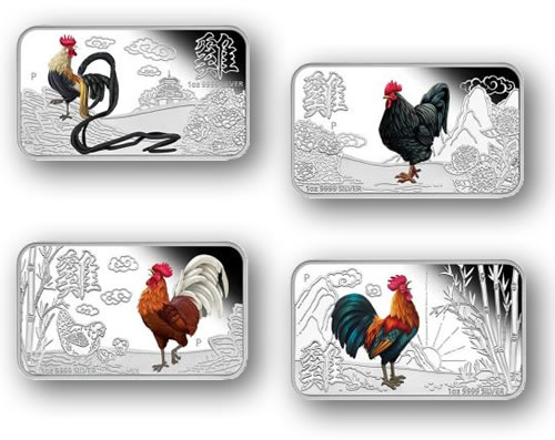 Year of the Rooster 2017 1oz Silver Proof Four-Coin Set