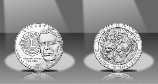 2017-P Lions Clubs International Centennial Silver Dollar, Obverse and Reverse