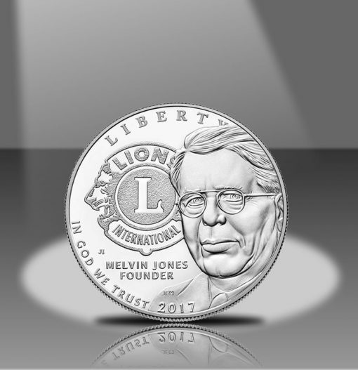 2017-P Proof Lions Clubs Commemorative Silver Dollar, Obverse in Spotlight