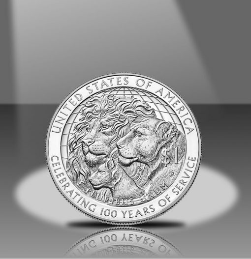 2017-P Proof Lions Clubs Commemorative Silver Dollar, Reverse in Spotlight