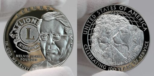 2017-P Proof Lions Clubs International Centennial Silver Dollar - Obverse and Reverse