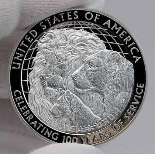 2017-P Proof Lions Clubs International Centennial Silver Dollar Reverse Photo,b