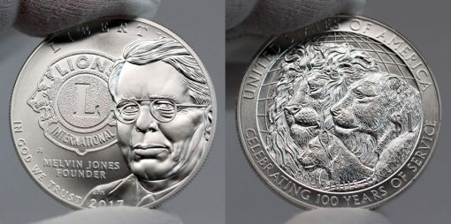 2017-P Uncirculated Lions Clubs International Centennial Silver Dollar - Obverse and Reverse